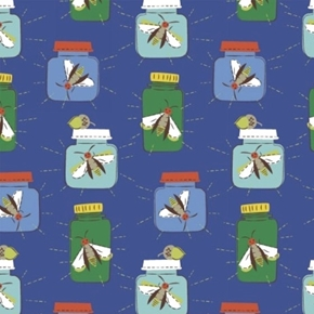 Mouse Camp Insects in Jars Lightning Bugs Blue Cotton Fabric
