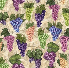 Perfectly Vintage Bunches of Grapes Wine Grape on Ecru Cotton Fabric