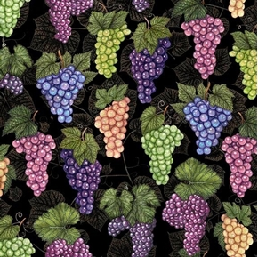 Perfectly Vintage Bunches of Grapes Wine Grape on Black Cotton Fabric
