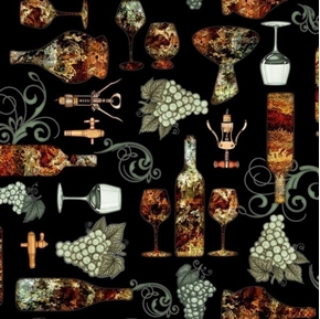 Perfectly Vintage Wine Bottles Grapes Glasses on Black Cotton Fabric