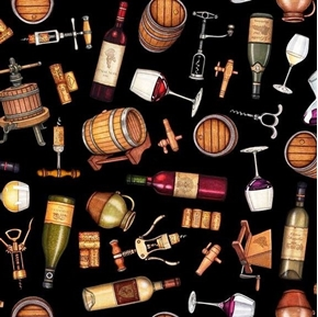 Perfectly Vintage Everything Wine Barrels Corks on Black Cotton Fabric