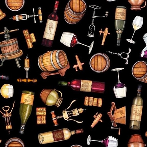 Picture of Perfectly Vintage Everything Wine Barrels Corks on Black Cotton Fabric