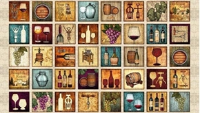 Perfectly Vintage Wine Patches Grapes Barrels 24x44 Fabric Panel