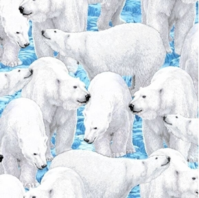 Northern Lights Polar Bears Packed Polar Bear Light Blue Cotton Fabric