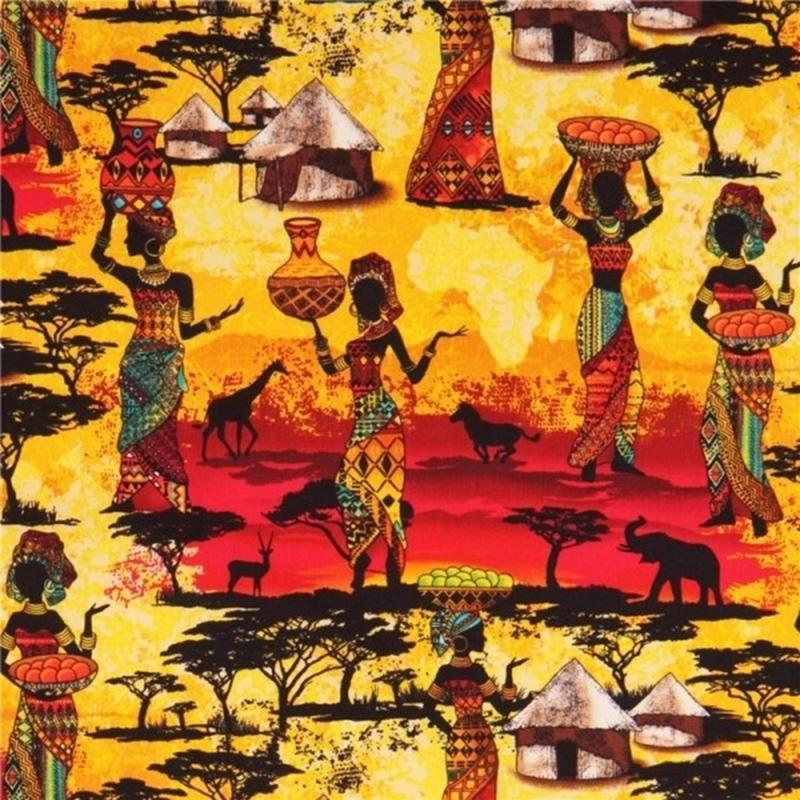 Picture of Kenta African Women and Animals Village at Sunset Cotton Fabric