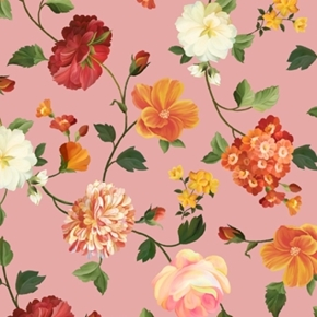 Picture of Les Fleurs Spaced Floral Botanical Flower Blossoms Pink Cotton Fabric