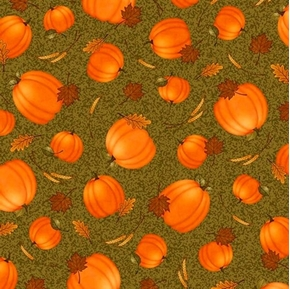 Picture of Harvest Greetings Tossed Pumpkins and Leaves on Green Cotton Fabric