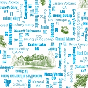 Picture of Our National Parks Park Names Everglade Grand Teton Blue Cotton Fabric