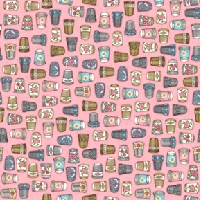 Thimble Pleasures Vintage Thimbles Sewing Thimble Pink Cotton Fabric