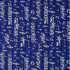 Three Quarter Time Music Terms Allegro Crescendo Blue Cotton Fabric