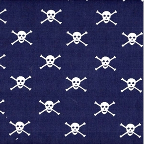 Picture of Skull and Crossbones Jolly Roger Pirate Navy Cotton Fabric