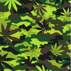 Cannabis Camouflage Green Marijuana Leaves on Camo Cotton Fabric
