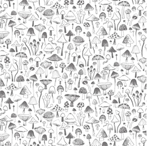 Tiny Mushrooms Mushroom Varieties Grey on White Cotton Fabric