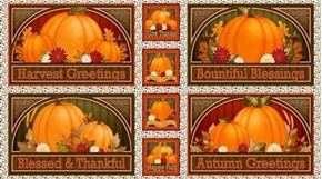 Harvest Greetings Autumn Picture Patches 24x44 Cotton Fabric Panel
