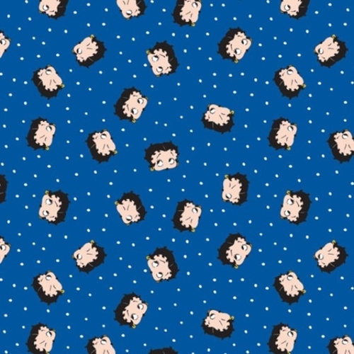 Betty Boop Red White and Boop Patriotic Faces Blue Cotton Fabric