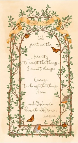 Serenity Prayer God Grant Me The Wisdom Ecru 24x44 Cotton Fabric Panel