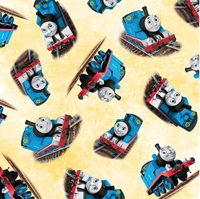 Picture of Steam Team Express Thomas the Tank Engine Toss Yellow Cotton Fabric