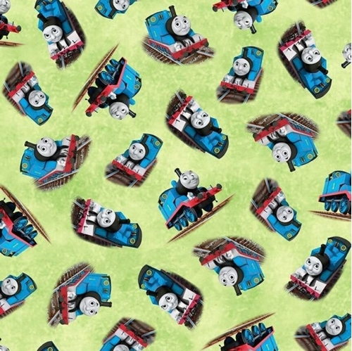 Steam Team Express Thomas the Tank Engine Toss Green Cotton Fabric