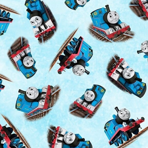 Picture of Steam Team Express Thomas the Tank Engine Toss Blue Cotton Fabric