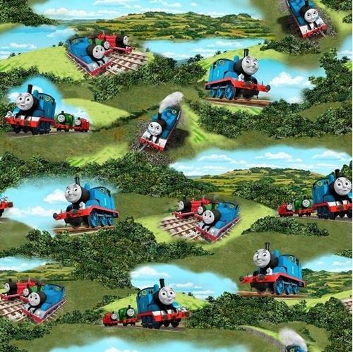 Steam Team Express Thomas the Tank Engine Scenic Cotton Fabric