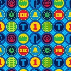 Steam Team Express Thomas the Tank Engine Train Medallion Cotton Fabric