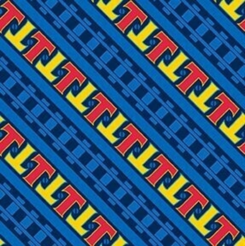 Steam Team Express Thomas the Tank Engine Diagonal Stripe Cotton Fabric