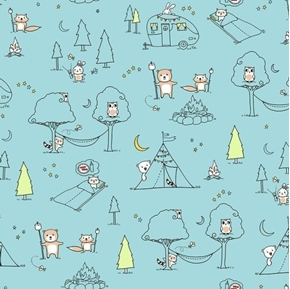 Camp S'more Ink and Arrow Animal Camp Scenic Blue Cotton Fabric