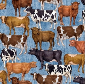 Bountiful Farm Animals Cows on Blue Cotton Fabric