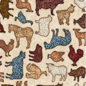 Bountiful Scrolled Farm Animals Tossed on Beige Cotton Fabric