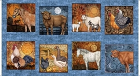 Picture of Bountiful Farm Animal Large Patch 24x44 Blue Cotton Fabric Panel