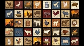 Bountiful Farm Animal Small Patch 24x44 Black Cotton Fabric Panel