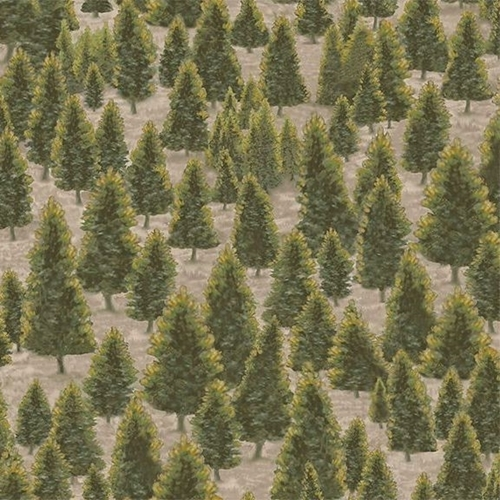 Mountain Elk Pine Trees Evergreen Tree Green Cotton Fabric
