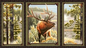 Mountain Elk Picture Panels 24x44 Cotton Fabric Panel