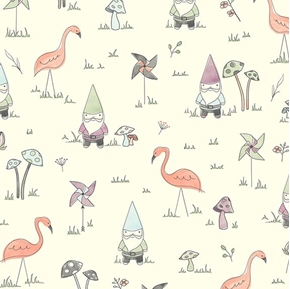 Gnome Matter What Gnomes Pinwheels Mushrooms Flamingo Cotton Fabric