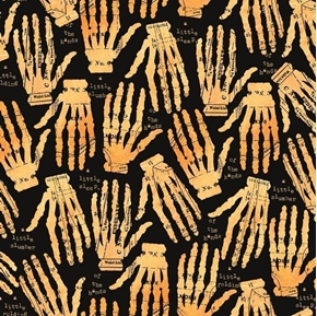 Queen of We'en Hands Off Sewing Skeleton J Wecker Frisch Cotton Fabric