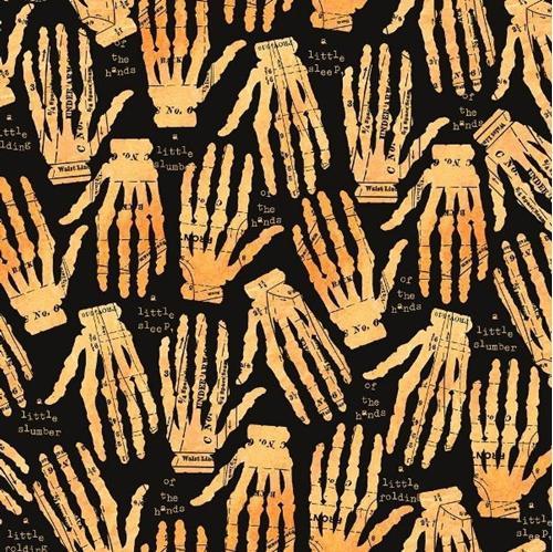 Queen of We'en Hands Off Sewing Skeleton J Wecker Frisch Cotton Fabric