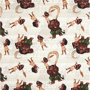 Disney Moana and Friends Maui Pua Movie Beige Cotton Fabric
