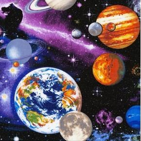 The Universe Solar System Galaxy Planets Stars Space Cotton Fabric