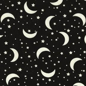 Glow-In-The-Dark Crescent Moon and Stars on Black Cotton Fabric