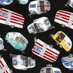 Vintage Campers Camping Trailers Silver Airstream Black Cotton Fabric