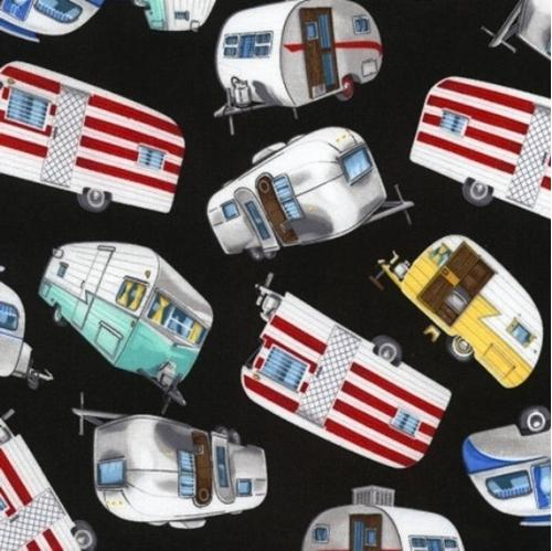 Picture of Vintage Campers Camping Trailers Silver Airstream Black Cotton Fabric