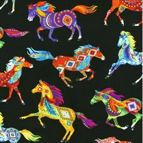 Southwest Horses Bright Aztec Painted Pony Black Cotton Fabric