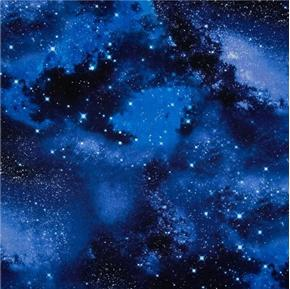 Solar System Galaxy Night Sky with Stars Cotton Fabric