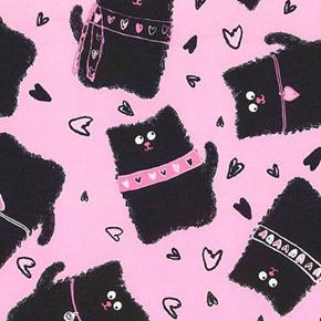 Smudgy Cat Cute Cats with Collars and Hearts on Pink Cotton Fabric
