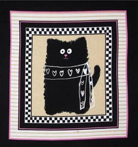 Smudgy Cat Black Cat with Hearts 24x22 Cotton Fabric Pillow Panel