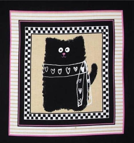 Picture of Smudgy Cat Black Cat with Hearts 24x22 Cotton Fabric Pillow Panel