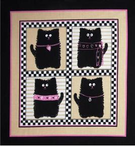 Smudgy Cat 4 Black Cats in Blocks 24x22 Cotton Fabric Pillow Panel