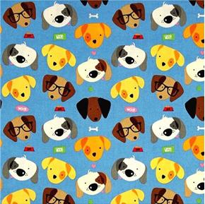 Picture of Rover Cute Puppies Dogs with Glasses Puppy Dog Blue Cotton Fabric