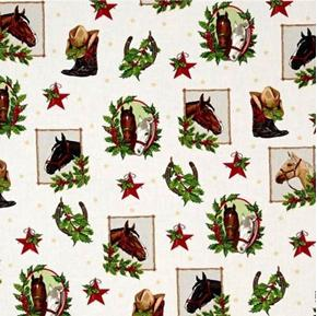 Picture of Holly Jolly Christmas 5 Christmas Horses in Frames Cotton Fabric