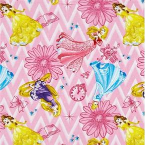 Disney Princess Toss Flowers Clocks Baskets Chevron Cotton Fabric